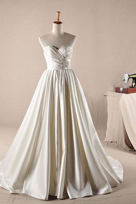 Vantage Ivory Sweetheart Long A-line Simple Design Wedding Party Dresses, WD0064