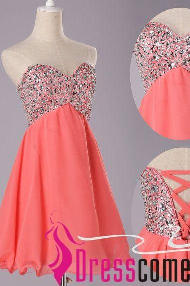 Sexy Short Coral Prom Dress,Coral Evening Dress,Coral Cocktail Homecoming Sweet 16 Dress,Short Chiffon Prom Party Dress RE101