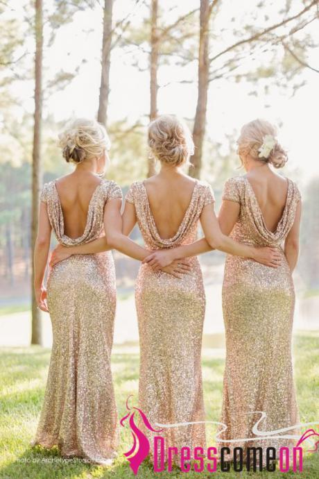 Glittery Bridesmaid Dresses With Sparkly Champagne Sequins Short Sleeves Long Bridesmaid Dress