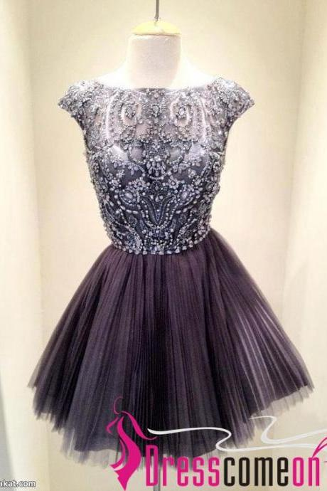 Sexy High Neck Silver Gray See Through Prom Dress,Tulle Evening Dress,Sexy Cocktail Dress,Backless Formal Dress,Ball Gown Tulle Prom Dress RE261