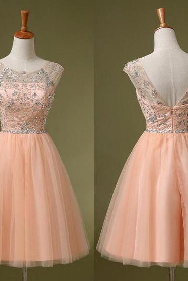 Blush Homecoming Dress,Blush Cocktail Dress,Low Back Prom Dress,Short Evening Gown,Tulle Cocktail Dress,Knee Length Sweet 16,Prom Gown RE262