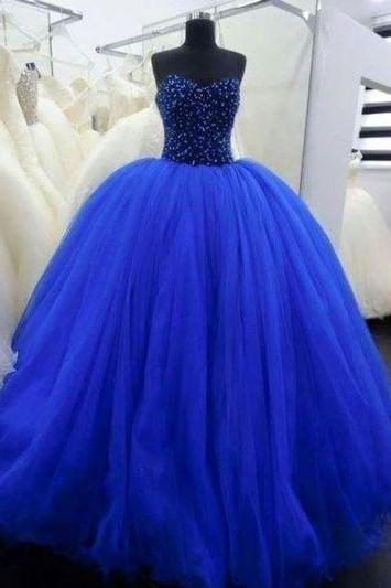 new Prom Dresses Ball Gown Sweetheart Corset Fitted Beaded Bodice Spakles Tulle Royal Blue Prom Gown