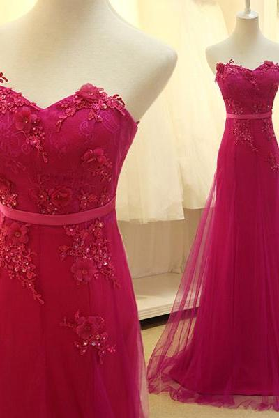 Beautiful Sweetheart Hot Pink Lace Prom Dresses,Beaded Sheath Long Prom Dress,Cheap Evening Prom Gowns,Women Dress