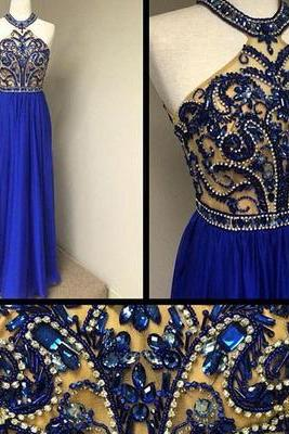 Gorgeous Royal Blue Halter Prom Dresses Beaded Bodice Cheap Evening Prom Dress New Arrival Prom Gowns Formal Women Dress
