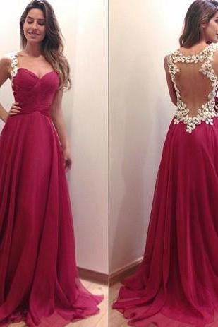 Unique A-line Sweetheart Red Chiffon Long Prom Dresses Evening Gown