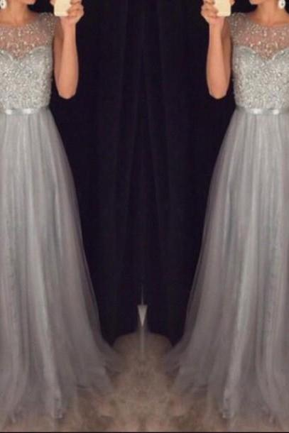 Hot Sales Grey Tulle Prom Dresses,Cap Sleeves Long Prom Dresses,Beaded Rhinestones High Neck Evening Prom Gown,Mother of the Bridal Dresses