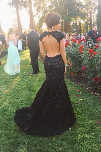 2017 New Backless Lace Black Prom Dress Open Back Mermaid Cap Sleeved Dresses