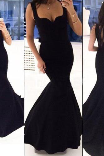 Cheap Mermaid Straps Black Low Back Satin Long Evening Dresses Prom Dress