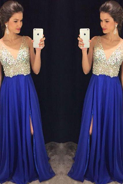 Royal Blue V Neck Long Prom Dresses Off the Shoulder Front Split Beaded Prom Dress Evening Party Dress