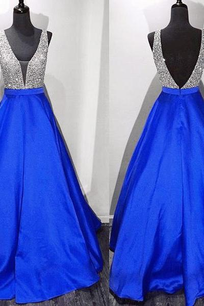 Royal Blue Deep V Neck Backless Ball Gown Prom Dresses,Off the Shoulder Open Back Quinceanera Dress Evening Gowns,Long Prom Gowns Quinceanera Dresses