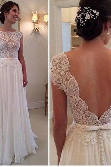 Beach Wedding Dress Simple A Line Lace Bodice Ivory Chiffon Skirt Flowy Long Summer Backless White Wedding Dresses For Brides