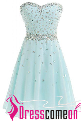 A-Line Chiffon Short Prom Gown Tulle Light Blue Cocktail Homecoming Dresses
