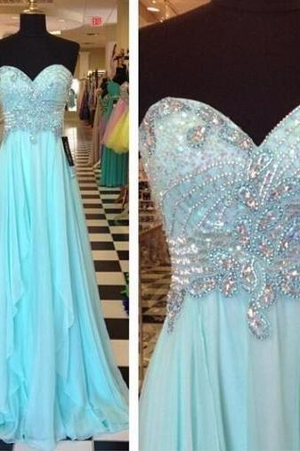Pretty A line With Beading Long Light Blue Chiffon Prom Dress Party Gown