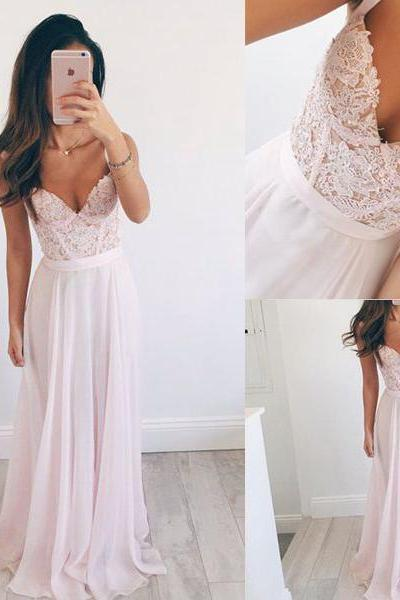 Spaghetti Straps Pink Lace Prom Dresses,Sweetheart Long Prom Dress,Chiffon Evening Dress Prom Gowns,Graduation Dresses Party Dress