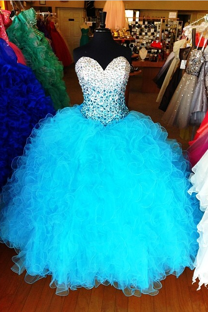 Plus Size New Ball Gown Prom Dresses Sweetheart Sleeveless Light Blue Tulle Long Quinceanera Dress Without Petticoat