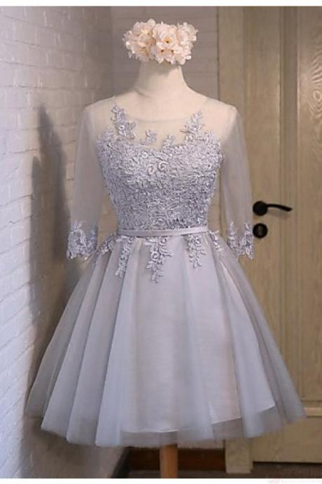 Baby Blue Lace Tulle Long Sleeves Homecoming Dresses,Back O Short Homecoming Dress Prom Gowns with Lace Up,Cheap Cocktail Dresses Party Gown