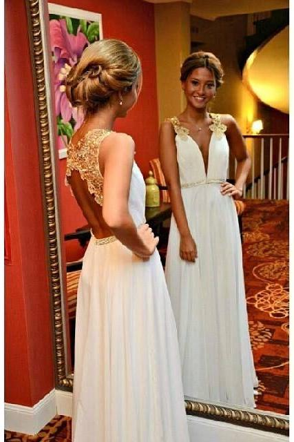 New Arrival Gold Lace Ivory Wedding Dress,Backless Long Prom Dress,Open Back Deep V Neck Evening Prom Dresses,Cheap Wedding Party Dress