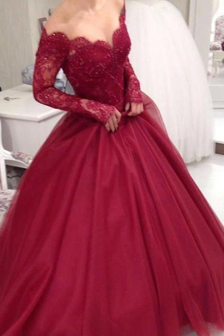 New Burgundy Lace Ball Gown Prom Dresses,Long Sleeves Wine Red Quinceanera Dresses,Sexy Evening Prom Gowns,Long Plus Size Quinceanera Dress