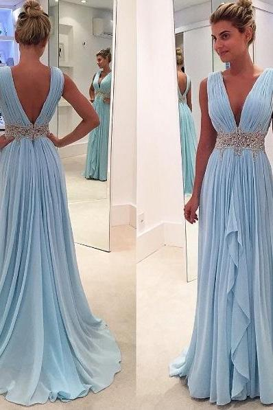 New arrival Light Blue Chiffon Prom Dresses Deep V Neck Off the Shoulder Evening Gowns,High Low Long Prom Dress With Beaded Waist,Women Party Gowns