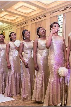 Gold sequin bridesmaid dresses, Mermaid bridesmaid dresses, Long bridesmaid dresses, cheap bridesmaid dress, cheap prom dress, 18061