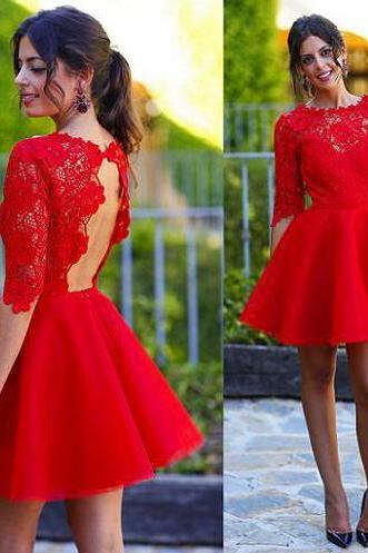 Long sleeve red homecoming dress, lace homecoming dress, short prom dress, Open back homecoming dress, 15013
