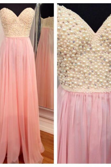 Amazing Pearls Pink Chiffon Evening Gowns Prom Dresses 2017,A Line Sweetheart Long Prom Dress,Cheap New Arrival Graduation Dress,Wedding Party Dresses