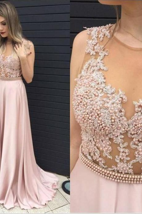 Blush Pink lace prom dress, See through prom dress, 2017 Long prom dress, cheap prom dresses, 15025