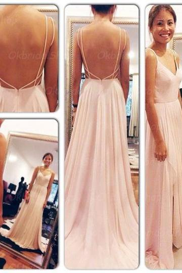 blush pink prom dresses, backless prom dress, sexy prom dress, chiffon prom dress, Long prom Dresses, 15072