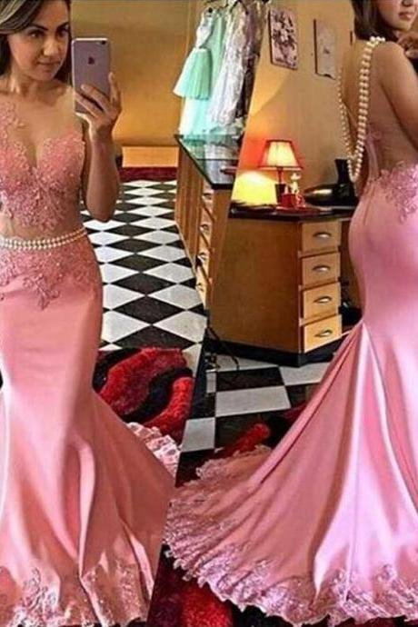Pink Lace Mermaid Evening Prom Dresses, Long See Through Party Prom Dress, Custom Long Prom Dress, Cheap Party Prom Dress, 17031