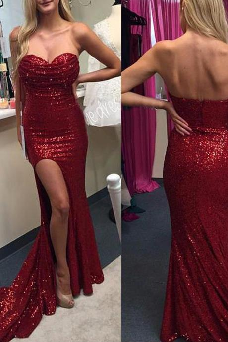 Sparky Burgundy Sequin Prom Dresses Sweetheart Mermaid Evening Gowns,Hot Sales Side Slit Evening Prom Dress 2017 Women Party Gown