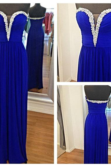 Royal Blue Long Prom Dress With Beaded Sweetheart Chiffon Evening Dresses