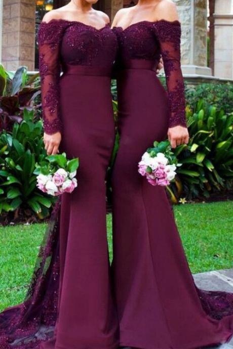 Burgundy Lace Mermaid Prom Dresses Long Sleeves Sexy Evening Dress,Wine Red Long Prom Gowns Bridesmaid Dresses