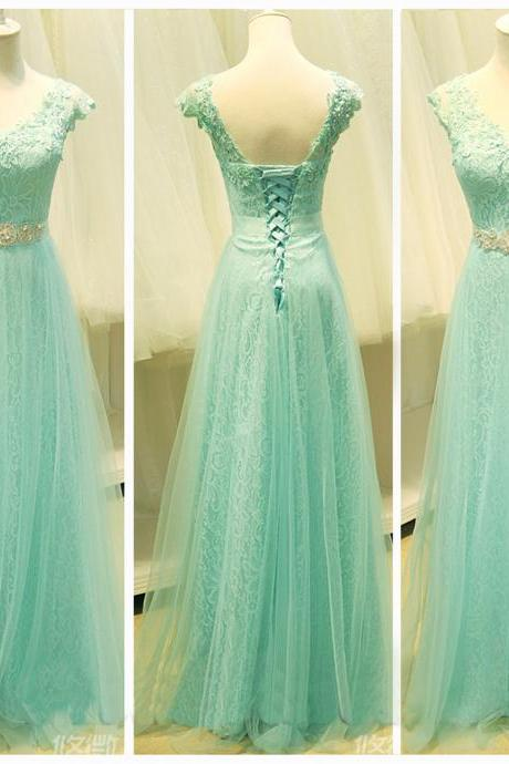 Mint lace prom dress, lace prom dress, cap sleeve prom dress, prom dress 2017, prom dresses online, 16142