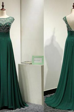 Cap Sleeves High Neck Green Chiffon Prom Dresses,Back V Rhinestones Prom Gowns,Backless Long Evening Dresses,Mother of the Bridal Dress Woman Dresses