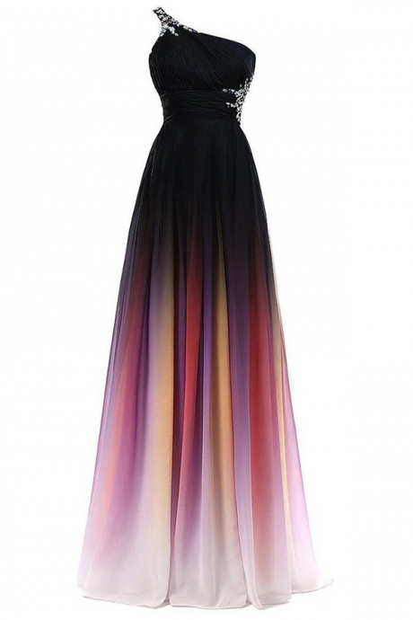 New Colorful Chiffon Gradient Prom Dresses,One Shoulder Black Ombre Evening Gowns Prom Dress,Gradient Graduation Dresses,Ombre Bridesmaid Dress