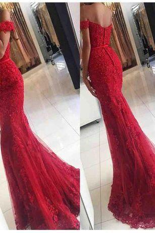Red Off Shoulder Lace Mermaid Evening Prom Dresses, 2017 Lace Party Prom Dress, Custom Long Prom Dresses, Formal Prom Dresses, 17041