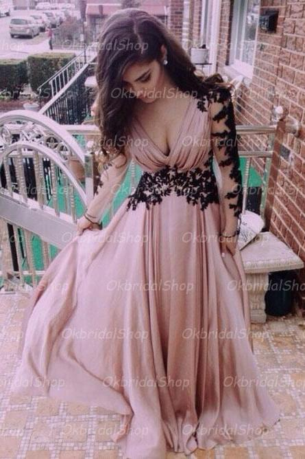long sleeve prom dress, sexy prom dress, blush prom dress, long prom dress, chiffon prom dress, elegant prom dress, prom dress 2017, 15184