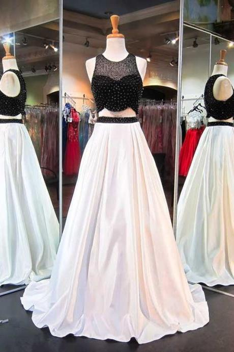 Two Pieces A line Evening Prom Dresses, Sexy Black and White Party Prom Dress, Custom Long Prom Dress, Cheap Party Prom Dress, 17028