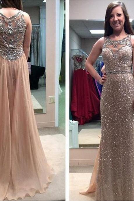 gold sequin prom dresses, see through prom dress, sparkly prom dress, long prom dress, cheap prom dress, elegant prom dress, prom dress 2017, 15192