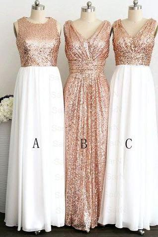 Gold Rose Sequin White Chiffon Bridesmaid Dresses,V Neck Long Bridesmaid Dress,High Neck Bridesmaid Gowns,Shiny Evening Prom Dresses,Party Gowns