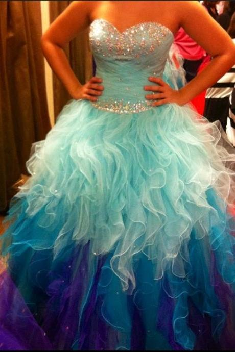 New Light Blue Tiered Skirt Ball Gown Prom Dresses,Sweetheart Beaded Purple Tulle Quinceanera Dresses Evening Gowns,Layers Evening Quinceanera DresS
