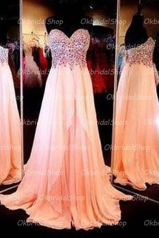 Peach prom dress, prom dresses 2017, long prom dresses, long dresses prom, 16155