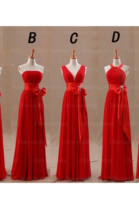 red bridesmaid dresses, long bridesmaid dresses, cheap bridesmaid dresses, chiffon bridesmaid dresses, custom bridesmaid dresses, 15230