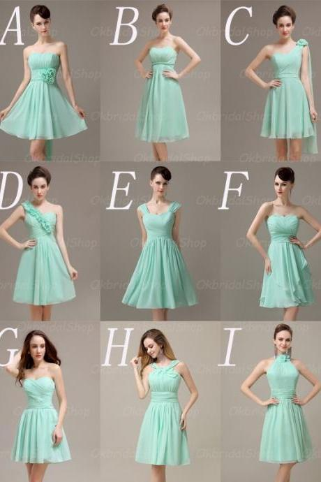 short bridesmaid dresses, mismatched bridesmaid dresses, custom bridesmaid dresses, cheap bridesmaid dresses, mint bridesmaid dresses, 15235