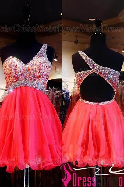 Watermelon Ball Gown One Shoulder Backless Tulle Short Red Prom Dress/Cocktail Dress