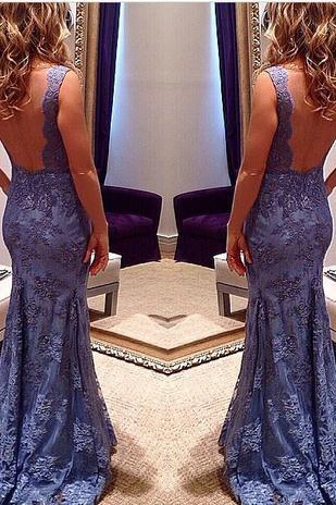 Custom Mermaid V neck Sleeveless Open Back Blue Lace Prom Gowns Evening Dress,Backless Long Prom Dresses Fashion Women Dress