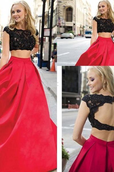 Black Lace Red 2 Pieces Prom Dresses,Cap Sleeves Backless Prom Dress,Two Pieces Open Back Evening Gowns,High Neck Long Prom Gowns,Fashion Woman Dress