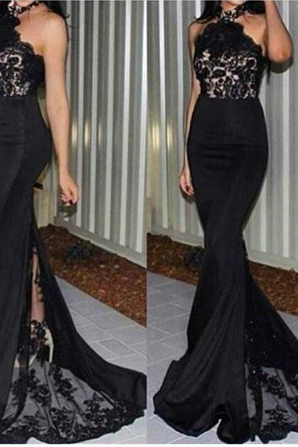 Black Evening Dress With High Neck Mermaid Lace Sexy Prom Dresses,Halter High Quality Evening Prom Gowns,Bridesmaid Dress