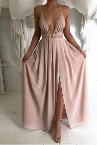 sexy backless prom dress, long prom dress, simple prom dress, cheap prom dress, dusty pink prom dress, prom dresses discount, 16027