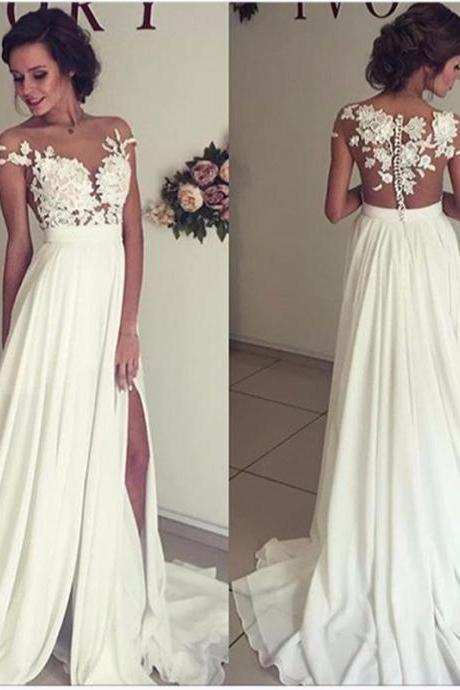 See through lace wedding dress, beach wedding gown, Sexy see through prom dress, prom dresses 2017, 16035